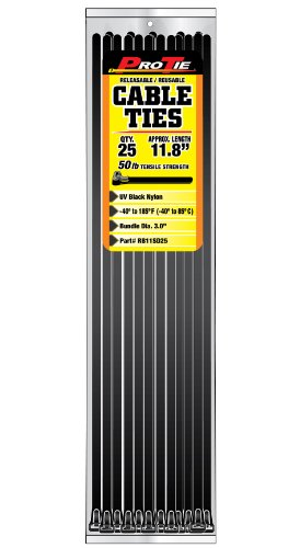 Pro Tie RB11SD25 11.8-Inch UV Black Nylon Releasable Standard Duty Cable Ties, 25-Pack by Pro Tie