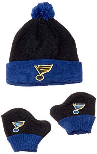 OTS NHL St. Louis Blues Pow Knit Cap & Mittens Set, Navy, Infant Blue Infant Baseball Bib