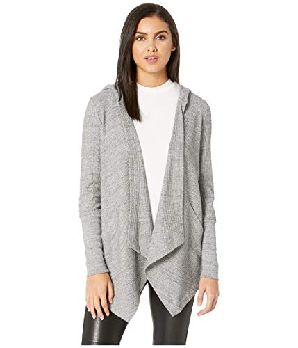 Splendid Women's Thermal Cardigan with Hood, Gravel Heather Grey, - Knit Jersey Hood
