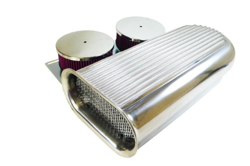 - Motornets Polished Aluminum HilBorn Dual 4BBL Carburetor Air Scoop Blower-Washable