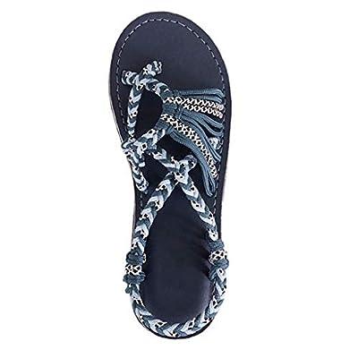 Dressin Womens Hemp Rope Flip Flops Women's Summer Fashion Roman Beach Shoes Sandals for Ladies Beige