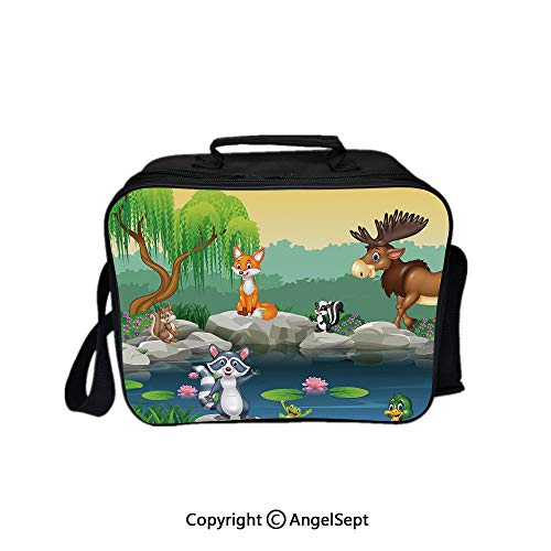 Hot Sale Lunch Container,Funny Mascots Animals by the Lake Moose Fox Squirrel Raccoon Kids Nursery Theme Multi 8.3inch,Lunch Bag Large Cooler Tote Bag For Men, Women ()