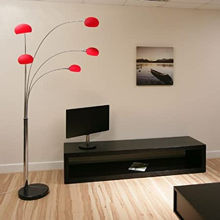 Modern Floor/Standard Lamp/Light/Lighting Red Glass New Lounge 5 ...