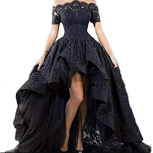 Diandiai Women's Hi-Lo Prom Dress Short Sleeve Lace Evening dress 2017 Off The Shoulder Maxi Dress Black 22 ()