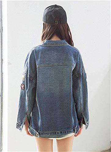 Giovane Di Blu Hipster Casuale Cute Ricamo Giubotto Outerwear Eleganti Moda Manica Chic Button Jacket Primaverile Lunga Jeans Autunno Giaccone Donna Vintage XxqR0YTRw