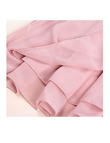 Bestgift Femme longue 2 taille Rose haute Jupe pliss rrgUCFwqd
