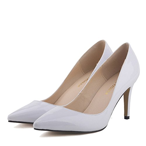en Pumps Chaussures Cuir Hauts Pointu Shallow Talons Stiletto Blanc Toe à Mouth Femmes Verni Xianshu qaOA5IwO