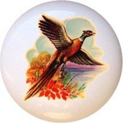 Fowl Vintage-look Decorative Glossy Ceramic Drawer Knob (Pheasant Knob compare prices)