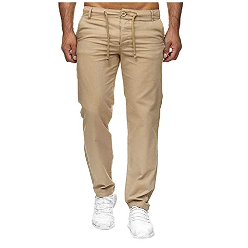 Cool1980s Mens Casual Simple with Elastic Waist Solid Long Pant (Khaki, L)