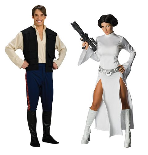 [Star Wars Dlx Han Solo Std & Princess Leia Medium Couples Costume Set] (Han And Leia Costumes)