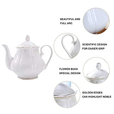 Porcelain Coffee Set and Tea Cups - 15 PCS 7 OZ Golden Wavy Edge White New Bone China Cups and Saucers for 6 with Teapot Sugar Bowl and Creamer Pitcher