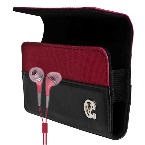Portola Red Hard Cover LG myTouch Leather Case for The Newest Model LG Maxx Touch 4G Android Phone (T-Mobile All Models , myTouch -Unlocked Phone Smartphone ) + Compatible Pink LG Maxx Touch (Tmobile myTouch) 4G Earbud Earphones (T Mobile Mytouch Lg 4g Phone Cases)