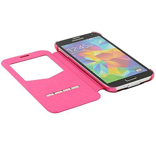 N48- Pink Flip Cover mit Sichtfernster für Samsung Galaxy S5 G900 i9600 Schutzhülle Smart Touch Hülle Smartphone Schale Handytasche Etui Case