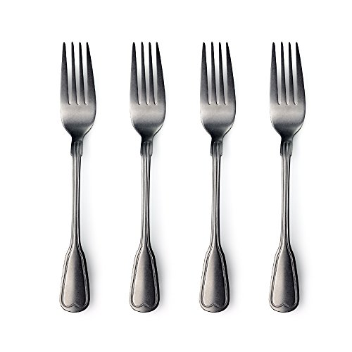 Stainless Steel  Dinner Forks Flatware, 4 Table Fork Set with Vintage Surface,Food Safe, by Gift Boxed (4 Pack)