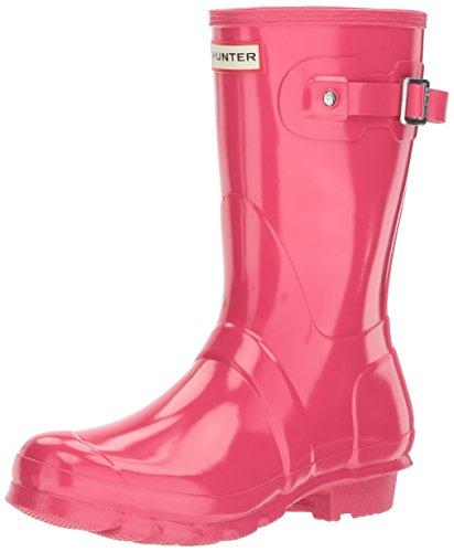Hunter Frauen Original kurze Glanz Regen Stiefel Leuchtend rosa