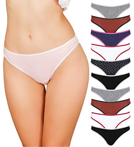 - Cotton Underwear Women 10 Thong Pack - No Show Panties, Seamless Sexy Breathable (Small (Assortment 2))