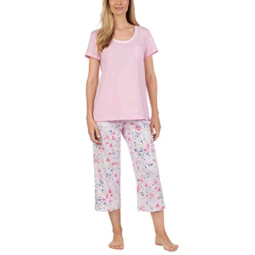 Carole Hochman Women's 3 Piece Pajama Set - Top, Short, and Capri Pant (XS, Pink) (Carole Hochman 3 Piece)
