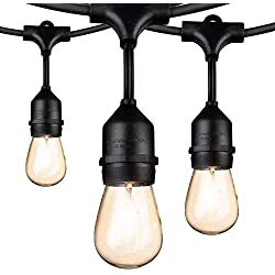 Outdoor String Lights 48Ft Edison Vintage Commercial Grade Lights with 15xE26 Base Sockets & S14 Bulbs, Weatherproof Connectable Strand for Porch Garden Deck Backyard Cafe Bar Wedding Party, Black