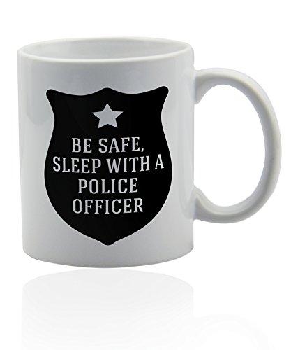 Wonderful Mugs Police officer white ceramic mug for coffee or tea 11 oz. Gift cup. -