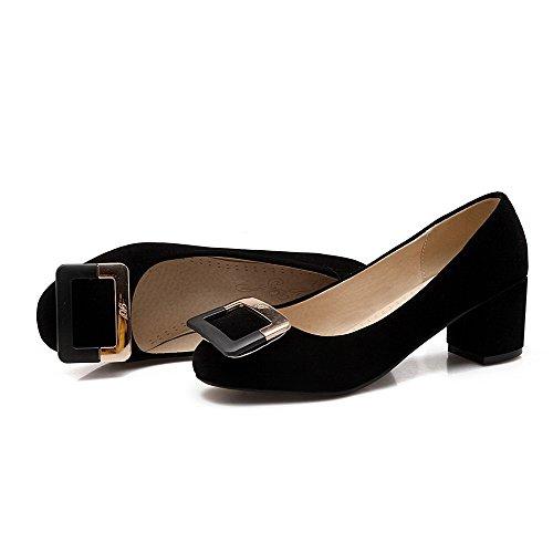 Légeres AgooLar Talon Suédé Tire à Couleur Rond Chaussures Correct Unie Noir Femme awvOqcat1