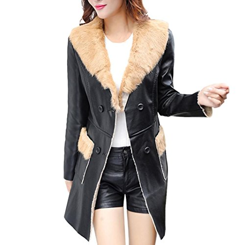 Freeheart Womens Faux Fur Jacket, Faux Leather Plush Jacket Long Walking Coat (M, Khaki)