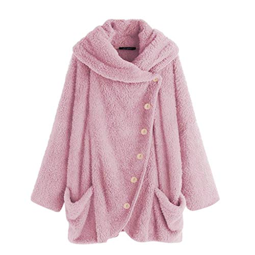 COPPEN Women Coat Button Fluffy Tail Tops Hooded Pullover Loose Sweater (Hot Pink A, Small)