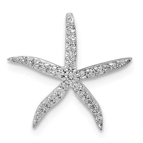 (14k White Gold Diamond Starfish Chain Slide Pendant)