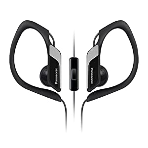 Panasonic Sports Clip Earbud Headphones with Mic/Controller RP-HS34M-K (Black)
