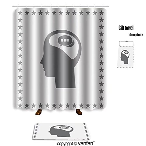 60OFF Vanfan Bath Sets With Polyester Rugs And Shower Curtain Human Head Business