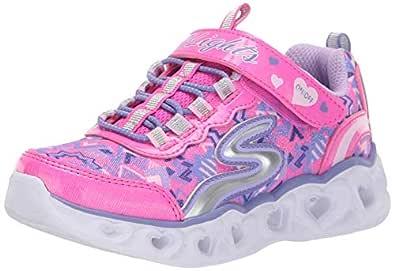 Skechers Australia Heart Lights Girls Training Shoe, Neon Pink/Multi, 1 US