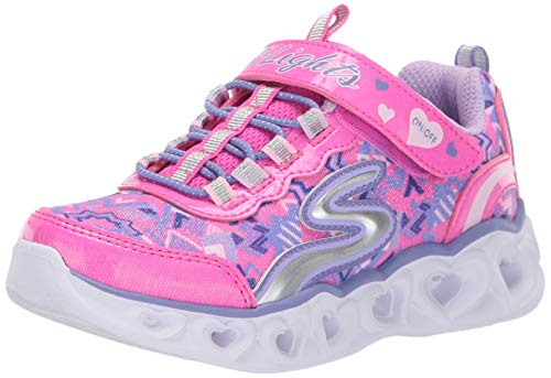 Light Pink Heart (Skechers Kids Girls' Heart Lights Sneaker, neon Pink/Multi, 1 Medium US Little)