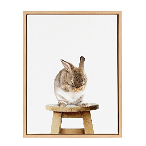 Kate and Laurel Sylvie Shy Bunny Rabbit Animal Print Portrait Framed Canvas Wall Art by Amy Peterson, 18x24 ()