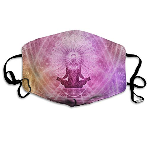 FEDSQ Unisex Fashion Mask Meditation Chakra Aura Yoga Sanskrit Pink Dust Allergy Influenza Mask Ski Bike Half Mask