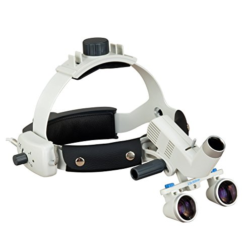 Headband Dental Surgical Loupes with LED Headlight, 2.5x , 500mm working distance by CB Optics