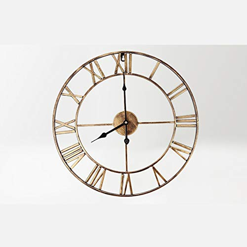 Stunning Skeleton Indoor/Garden Wall Clock Metal London Large Roman Numerals Clock Open Face Round Clocks Living Room,Brass,d:40cm ()