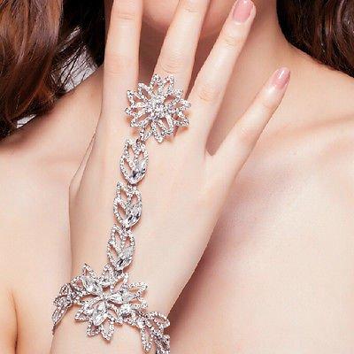 (Sunshinesmile Wedding Bridal Crystal Rhinestone Hand Bracelet Flower Ring Wristband Gloves)