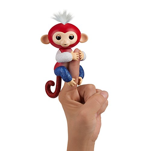 WowWee Fingerlings Glitter Monkey - Liberty (Red, White, & Blue Glitter) - Interactive Baby Pet