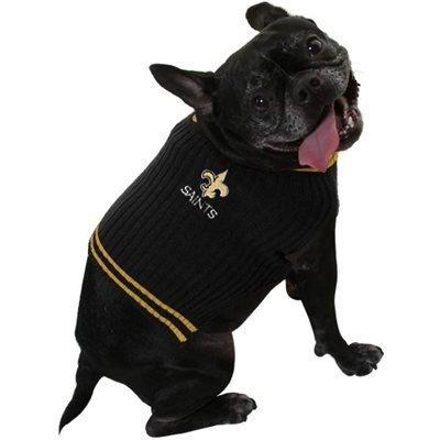 NEW ORLEANS SAINTS V NECK DOG PET EMBROIDERED SWEATER - XS S M L - LICENSED NFL (MEDIUM)