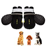 #1: Petrunup Dog Hiking Rain Boots 4 Pcs Waterproof All Weather Cool Dog Booties for Small Dogs Rubber Pet Running Hiking Walking Water Shoes Reflective Black 4#