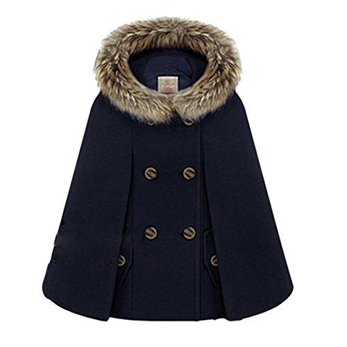E.JAN1ST Women's Hooded Cape Coat Double Breast Faux Fur Woolen Coat Poncho Cloak, Navy Blue, US Size M=Tag Size XL