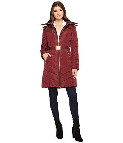 MICHAEL Michael Kors Womens Hooded Down with Belt M821417C Bordeaux XS One - Women Michael Chart Kors Size