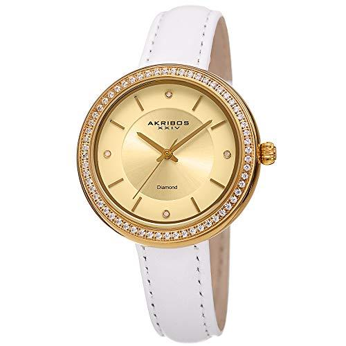 (Akribos XXIV Women's Leather Watch - 4 Genuine Diamond Markers, CZ Crystal Studded Bezel, Sunray Dial - White Band, Gold Tone Bezel - AK1067YG)