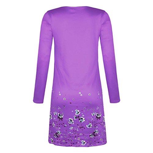 en mi Jupe Violet Robe Robe Dcontracte FeiXiang plisse Volants Longue Mousseline Floral Volants Imprim Femmes OUzqXU