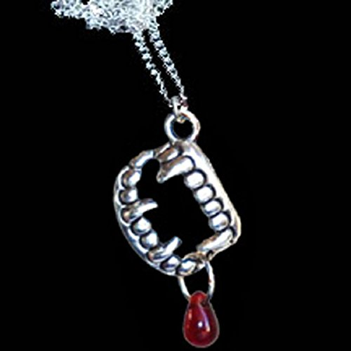 Fang Banger Costume (True Gothic VAMPIRE FANG BANGER TEETH w-BLOOD NECKLACE Halloween Costume Jewelry)