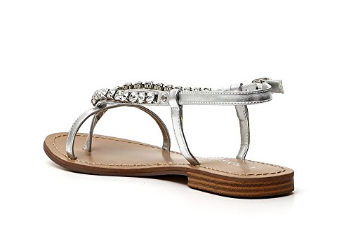 Cafè Noir KGA917 Flip Flop with LACIO Behind Launch and Strass Accessory 204 Argento rup2GMHVO