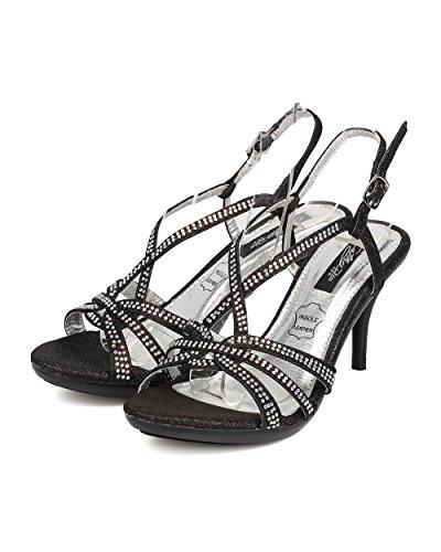Cathy Din Fc07 Kvinnor Glitter Läder Rhinestone Strappy Slingback Stilett Sandal - Svart