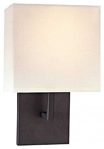 George Kovacs P470-617 1 Light Wall Sconce w/Off White Linen Shade, Bronze