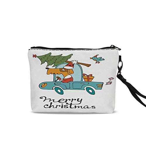 Christmas Cosmetic Bag Pouch,Blue Vintage Car Dog Driving with Santa Costume Cute Bird Tree and Gift Present For Women Girl,9