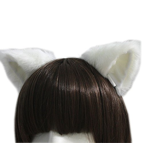 Quick And Easy Costumes To Make (E-TING Cat Fox Long Fur Ears Anime Cosplay Headband Halloween Cosplay Party Costume(White with White inside))