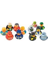 12 Rubber Ducks Superhero & Villian Bathtub Boy's Birthday Party Favors Cake Toppers